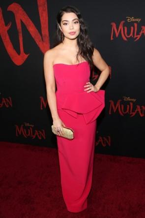 Auli'i Cravalho Red Strapless Ruffled Evening Dress World Premiere of 'Mulan'