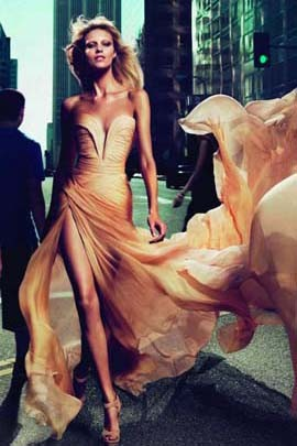Anja Rubik Le Parfum Ad Champagne Prom Dress Evening Dresses
