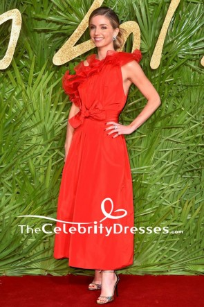 Annabelle Wallis Red One Shoulder Evening Dress The Fashion Awards 2017 TCD7611