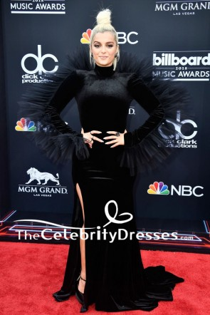 Bebe Rexha Black Long Sleeve Formal Evening Dress 2018 Billboard Music Awards TCD8000