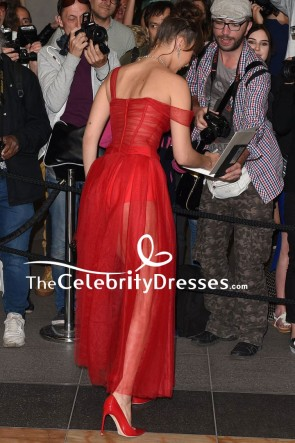 Bella Hadid Sexy Red See Through Evening Party Dress TCD7873