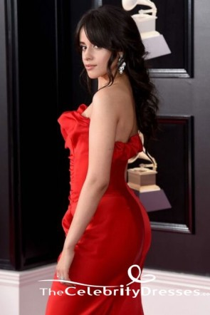 Camila Cabello Red Mermaid Evening Dress 2018 Grammy Awards Red Carpet Gown TCD7706