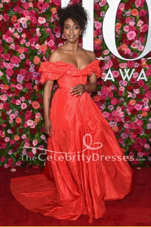 Condola Rashad Red Off Shoulder Formal Dress 2018 Tony Awards Red Carpet Gown TCD7896