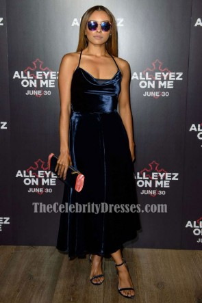 Kat Graham Velvet Backless Cocktail Graduation Dress 'All Eyez On Me' London Premiere TCD7320