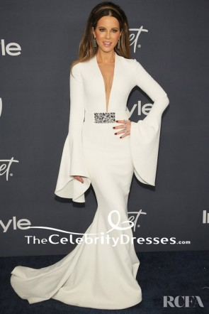 Kate Beckinsale White Long Sleeve Evening Dress InStyle Golden Globes After Party TCD8818