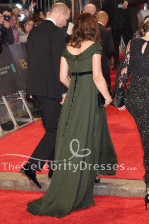 Kate Middleton 2018 BAFTAs Dark Green Formal Dress Evening Gown TCD7740