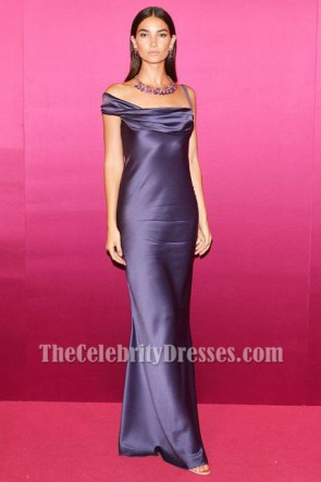 Lily Aldridge Navy Blue Evening Gown Bvlgari Festa Party Dress TCD7336