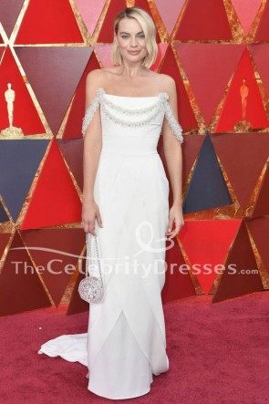 Margot Robbie 2018 Oscars Red Carpet White Formal Dress Evening Gown TCD7758