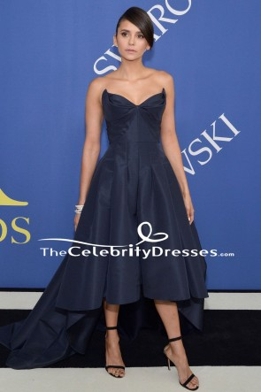 Nina Dobrev Dark Navy High-Low Formal Dress 2018 CFDA Fashion Awards TCDFD7968