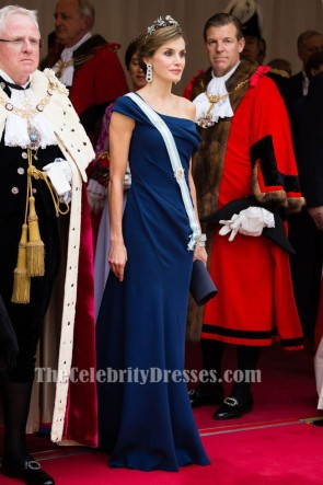 Queen Letizia of Spain Elegant Navy Blue Evening Dress UK State Visit Gown TCD7393