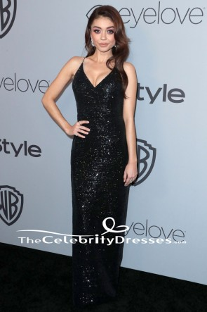 Sarah Hyland Backless Evening Gown 2018 Golden Globe Awards Parties Dress TCD7665