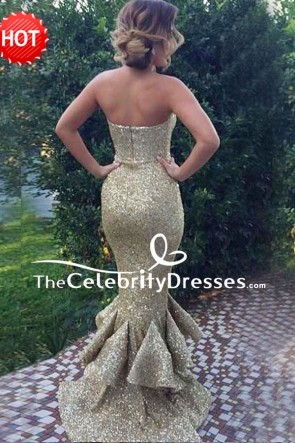 Sexy Strapless Mermaid Gold Sequin Strapless Evening Dress with Ruffles TCDFD7811