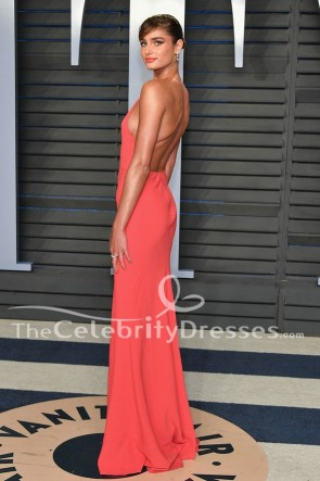 Taylor Hill Watermelon Backless Evening Gown 2018 Vanity Fair Oscar Party Dress TCD7781