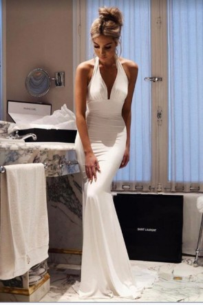 Sexy White Halter Mermaid Evening Gown Formal Prom Dresses TCDFD8617