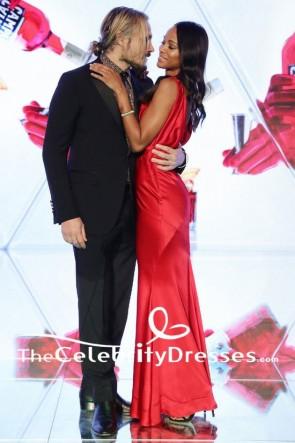 Zoe Saldana Red Evening Dress 'Campari Red Diaries' Milan Premiere Gown TCD7714