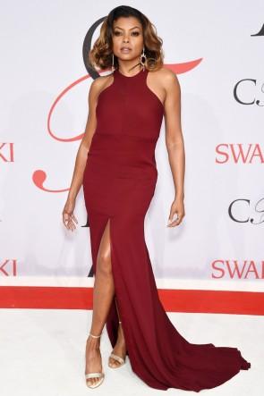 Taraji P. Henson Burgundy Sleeveless Evening Gown 2015 CFDA Fashion Awards TCD6242