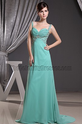 Celebrity Inspired Beaded Chiffon Prom Dress Evening Formal Dresses