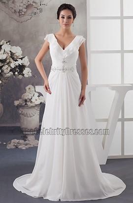 A-Line Cap Sleeve V-Neck Chapel Train Wedding Dresses