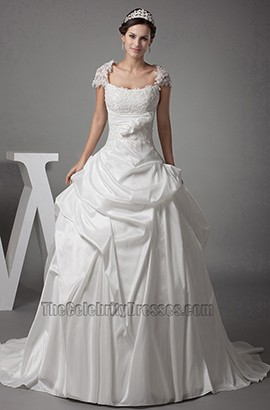 Chapel Train A-Line Cap Sleeves Lace Taffeta Wedding Dresses