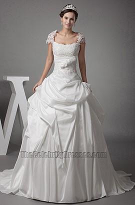 Chapel Train A-Line Cap Sleeves Lace Taffeta Wedding Dresses