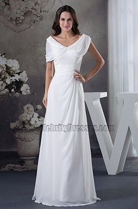 A-Line Floor Length V-neck Chiffon Off-the-Shoulder Wedding Dress
