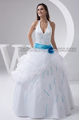 A-Line Halter Beaded Floor Length Wedding Dresses With A Blue Belt