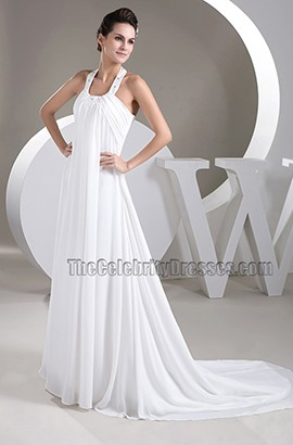 A-Line Halter Chapel Trail Chiffon Wedding Dresses