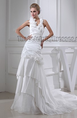 A-Line Halter Chapel Train Wedding Dress Bridal Gown