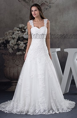 A-Line Lace Sweetheart Beaded Lace Up Wedding Dress
