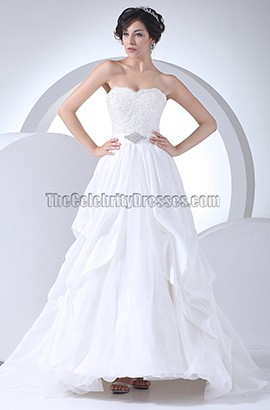 A-Line Lace Taffeta Strapless Sweetheart Wedding Dresses