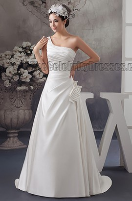 A-Line One Shoulder Beaded Sweep/ Brush Train Wedding Dress