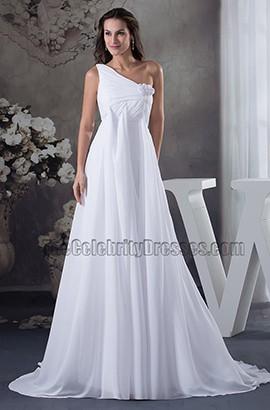 A-Line One Shoulder Chapel Train Chiffon Wedding Dresses