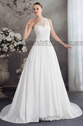 Discount A-Line One Shoulder Chapel Train Wedding Dress