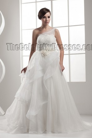 A-Line One Shoulder Chapel Train Wedding Dresses Bridal Gown