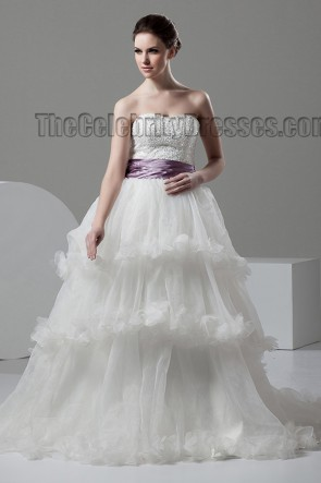 A-Line Ruffles Strapless Sweetheart Beaded Wedding Dress