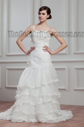 A-Line Spaghetti Straps Sweep/Brush Train Wedding Dresses