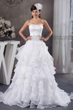 Celebrity Inspired A-Line Strapless Beaded Ruffles Wedding Dresses