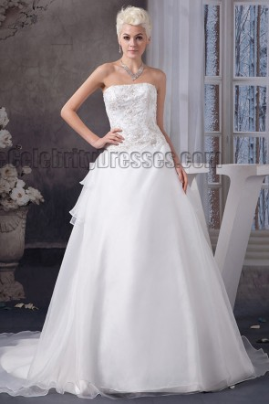 A-Line Strapless Embroidered A-Line Chapel Train Wedding Dresses