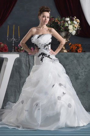 A-Line Strapless Embroidered Chapel Train Wedding Dresses