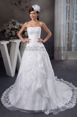 A-Line Strapless Embroidered Wedding Dress Bridal Gown