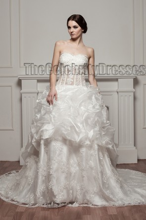 A-Line Strapless Lace Organza Chapel Train Wedding Dresses