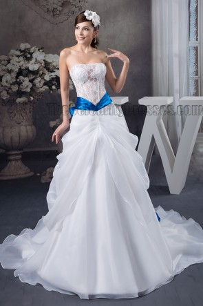 A-Line Strapless See Through Lace Organza Wedding Dress