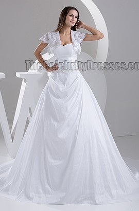 A-Line Strapless Sweetheart A-Line Beaded Chapel Train Wedding Dresses