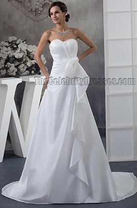 A-Line Strapless Sweetheart A-Line Taffeta Chapel Train Wedding Dresses