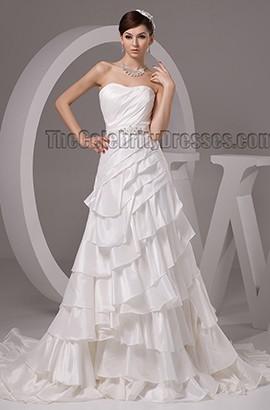 A-Line Strapless Sweetheart Beaded Chapel Train Wedding Dresses