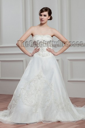 A-Line Strapless Sweetheart Embroidered Chapel Train Wedding Dress