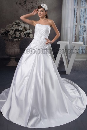 A-Line Strapless Sweetheart Embroidered Chapel Trian Wedding Dress