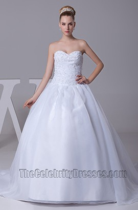 A-Line Strapless Sweetheart Taffeta Wedding Dress Ball Gown