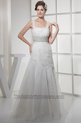 A-Line Sweep Brush Train Organza Wedding Dresses