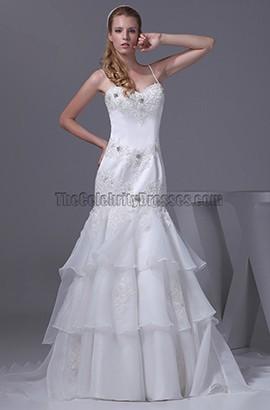 A-Line Sweetheart Beaded Chapel Train Wedding Dresses